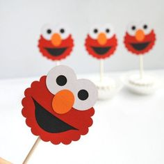 Elmo Cupcake Toppers, Die cut layered Elmo Cupcake toppers A282 | MariaPalito - Seasonal on ArtFire
