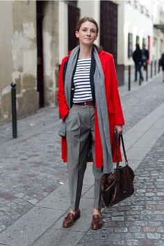 Bold coat, stripes, and loafers