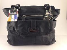 e70038cb9e5 TYLER RODAN Black Berlin Satchel Triple Entry Handbag Shopper Tote Bag Purse