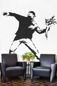 """The Flower Protester Wall Decal Sticker Banksy Style 