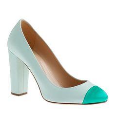 Love the chunky heel and two tone colro - J. Crew Etta satin cap toe pumps
