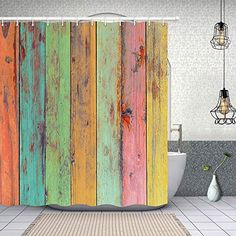 $19.99 NYMB Colorful Rustic Wooden Artwork Painted on Board Plank Farmhouse Vintage Shower Curtain | vintage farmhouse bathroom | vintage farmhouse bathroom decor | #vintage
