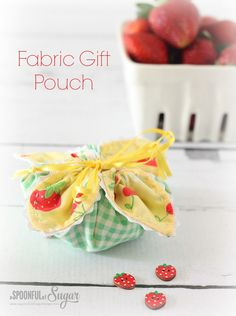Fabric Gift Pouch Sewing Tutorial  www.aspoonfulofsugardesigns.com