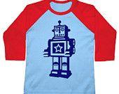 Robot birthday shirt boys kids toddler abstract shirt American Apparel Raglan 3/4 blue & red Sleeve tshirt. $18.00, via Etsy.