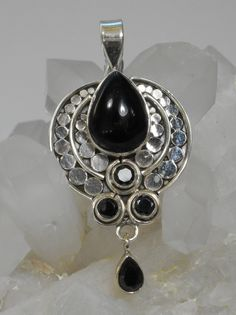 Black Onyx and Sterling Pendant 1