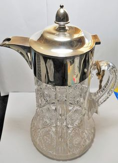 This Claret Jug by John Round & Sons is sterling silver and faceted glass, with perfect condition Ice Sleeve - a stunning and practical piece of tableware. Faceted Glass, Sons, Sterling Silver, Antiques, Tableware, Antiquities, Faceted Crystal, Antique, Dinnerware