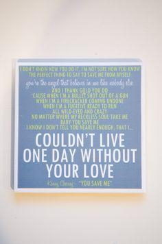 """Kenny Chesney """"You Save Me"""" Lyric Art Coaster. $8.00, via Etsy."""