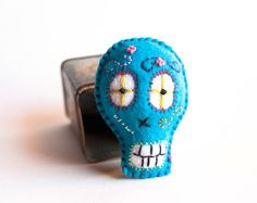 Christmas Sale Free Shipping Sugar Skull in blue turquoise pincushion/ Christmas Gift Idea/ Ornament  by Chapulin