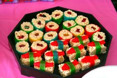 """Rice Krispie Treat """"sushi"""".  I find the Swedish fish to be hilarious."""