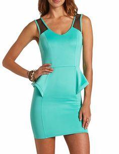 Mesh Inset Scuba Peplum Dress: Charlotte Russe