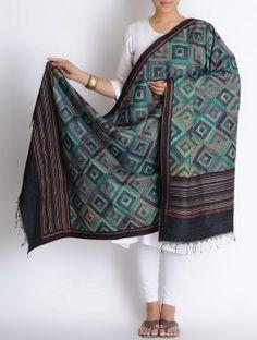 Blue-Black Tussar Silk Kantha Embroidered Block Printed Dupatta