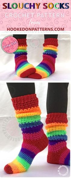 Crochet Socks Pattern - These fun slouchy socks are perfect for a rainy day in! Slouchy socks crochet pattern for beginners.