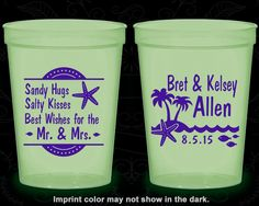 Sandy Hugs Salty Kisses Best Wishes to the Mr and Mrs, Personalized Glow Cups, Beach Wedding, Palm Trees, Glow-in-the-Dark (25)