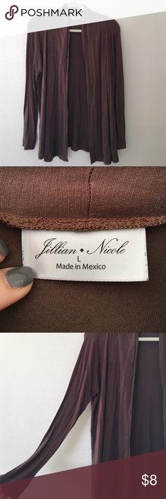 Jillian Nicole brown long sleeve cardigan - large Jillian Nicole.  brown.  long sleeve.  cardigan. large. Worn a few times. Still in good condition. jillian nicole Sweaters Cardigans