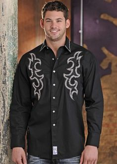 Mens Panhandle Slim Black Embroidered Snap Shirt