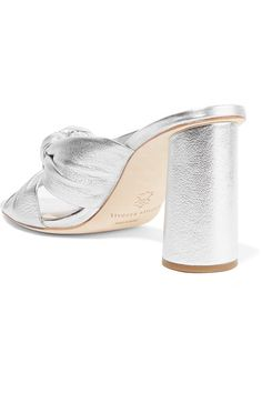 Loeffler Randall - Coco Knotted Metallic Leather Mules - Silver