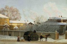 Magnus von Wright: Annankatu kylmänä talviaamuna, 1868. Annastreet  in a cold winter morning