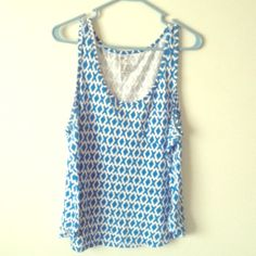 Sz XL GAP Tank Top cute blue & white print with little pocket. 100% cotton. gently worn. has shruken a little in the wash. could also fit L GAP Tops Muscle Tees