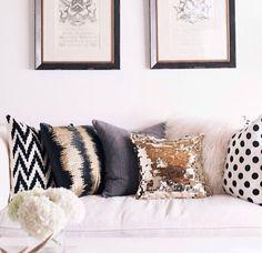Black, White, And Gold Throw Pillows