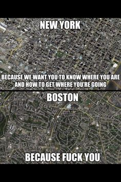 It's a grid system motha f*cka -John Mulaney. NYC vs. Boston