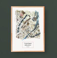 Hand-drawn aquarelle-illustration of Copenhagen, printed on high quality, cremecolored 250g recyclingpaper.  #copenhagen #citymap #denmark #illustration #map #larabispinck #larabispinckillustration #everywhereyougo #shop #aquarelle #handdrawn #recyclingpaper #europe #city #travel #kobenhavn #dänemark #reisen #europa