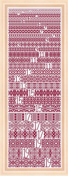 Cross Stitch Borders Prime Numbers for the math enthusiast Simple Cross Stitch, Cross Stitch Borders, Cross Stitch Samplers, Modern Cross Stitch, Cross Stitching, Cross Stitch Patterns, Blackwork Embroidery, Embroidery Sampler, Diy Embroidery