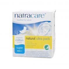 Absorvente orgânico Natracare Super com abas Ultra Pads com 12 absorventes- Lohas Store