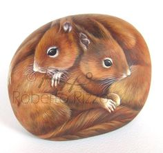 Squirrels | Rock painting art by Roberto Rizzo