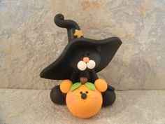 Cat and Mouse  Halloween Figurine by countrycupboardclay on Etsy, $11.95