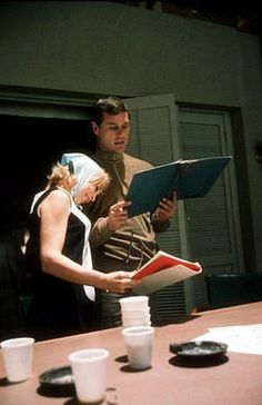 Behind the scenes of I Dream Of Jeannie Barbara Eden and Larry Hagman rehearsing lines, good friends