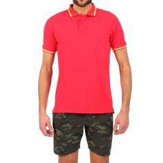 RED PIQUE COTTON POLO WITH RAINBOW BANDS COL. RED 2