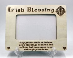 Celtic Irish Blessing Plaque with Celtic Knot Heart Wood Photo Frame Irish Celtic, Celtic Knot, Photo Engraving, Laser Engraving, Photo Ornaments, Irish Blessing, Heart Ornament, Pet Loss, Photo On Wood