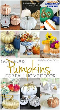 Gorgeous #Pumpkin Crafts for #Fall Home Decor, gold pumpkins, confetti pumpkins, painted pumpkins, dryer duct pumpkins, velvet pumpkins, copper pumpkins, glam, gilded pumpkins, garlands via @madeinaday