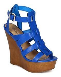 10226c5411 Breckelles CK61 Women Leatherette Open Toe Strappy Wooden Platform Wedge  Sandal Blue Size 55  gt