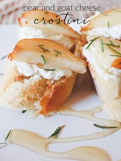 A simple fall appetizer: pear and goat cheese crostini topper with honey drizzle…