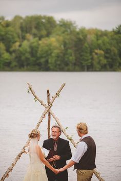 simple, beautiful ceremony setting and altar