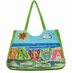 Green Flip Flops Beach Bag - The Handbag Hut - £9