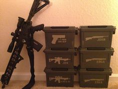 Rifle and Ammo Cans Weapon Storage, Gun Storage, Storage Ideas, Tactical Survival, Tactical Gear, Rifles, Reloading Ammo, Reloading Bench, Ammo Cans