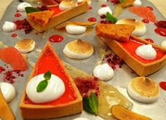 Ingredients Yield: 1 tart Grapefruit Curd 1 cup mL) fresh pink grapefruit juice cup sugar 2 tablespoons mL) fresh lemon juice 1 tablespoon cornstarch table 4 large egg yolks 2 tablespoons cold butter table, Grapefruit Curd, Gin Lemon, Fresh Lemon Juice, Tart Pan, Pastry Brushes, Meringue, Pie Dish, Toffee, Baking Soda