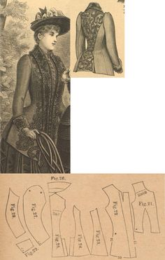 Der Bazar 1889: Greyish-blue eskimo-fabric paletot with black cloth overlay; 21. bodice's front insertion, 22. paletot's front part, 23. and 24. side gores, 25. back part in half size, 26. collar in half size, 27. and 28. sleeve parts, 29. cuff in half size