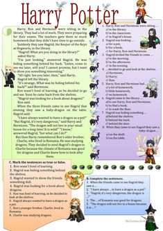 Harry Potter in the library worksheet - Free ESL printable worksheets made by teachers English Primary School, English Classroom, Reading Comprehension Activities, Reading Worksheets, Printable Worksheets, Free Worksheets, English Worksheets For Kids, English Activities, Education English