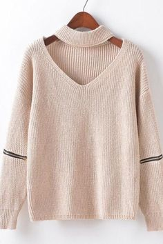 sweater hollow-out neck v-neck sweater