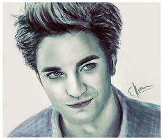 Edward Cullen played by Robert Pattinson from the Twilight saga. This was meant to be a speed painting, but not at all in the end. Twilight Saga Series, Twilight Edward, Twilight Photos, Twilight Series, Twilight Movie, Edward Cullen, Fantasy Female Warrior, Robert Pattinson Twilight, Movie Shots