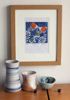 Original linocut print, butterfly and plants with chine colle, A5, handmade paper, navy print with orange and yellow detail by FabritziaDesign on Etsy