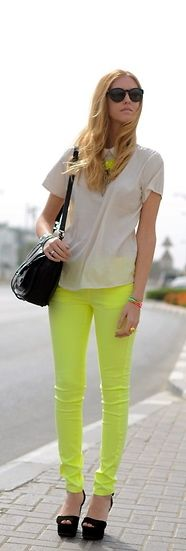 Neon Yellow Pants With Sandstone Colored Shirt !