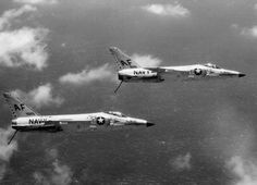 Two VF-33 Astronauts F11F-1 Tiger assigned to Carrier Air Group (CVG) 6 aboard the USS Intrepid (CVA11) in 1960,