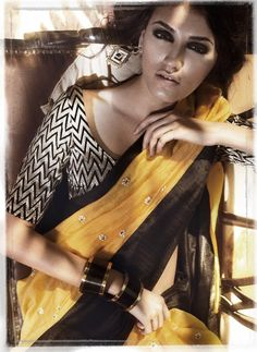 Yellow and black saree - love the blouse!