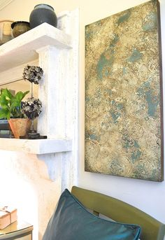 Are you loving the crusty-elegant finishes we are seeing everywhere today? This canvas art was created over a period of a couple of days. The copper foil edges really add a pretty, soft pop of metallic.   Notice the colors and textures look gorgeous with turquoise jewelry … have you noticed that the