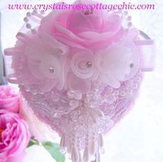 Romantique Victorian White Pearl Heart Ornament