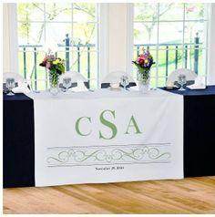 Sæt prikken over i'et  på jeres bryllupsbord, kagebord eller gavebord med denne bordløber med jeres initialer og bryllupsdato.